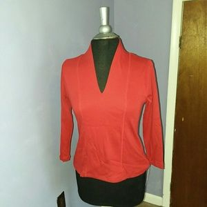 Rafaella Weekend Blouse PS Red V-neck NWT